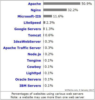 Most popular web servers on the internet